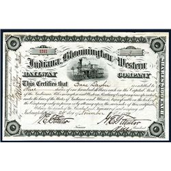 Indiana, Bloomington and Western Railway Company 1879 Issued Stock Certificate.