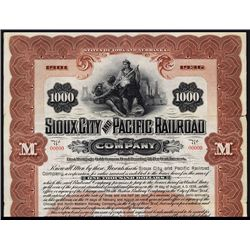 Sioux City and Pacific Railroad Co., Specimen Bond.