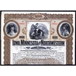 Iowa, Minnesota and Northwestern Railway Co., Specimen Bond.