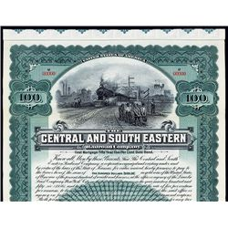 Central and South Eastern Railroad Co., Specimen Bond.