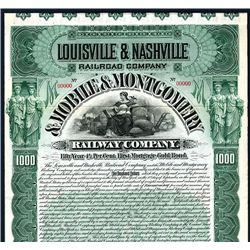 Louisville & Nashville Railroad Co. & Mobile & Montgomery Railway Co., Specimen Bond.