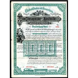 Chesapeake and Nashville Railway Co. Specimen Bond.