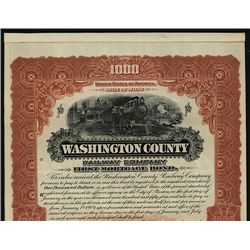 Washington County Railway Co. Specimen Bond.