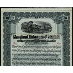 Maryland, Delaware and Virginia Railway Co., Specimen Bond.