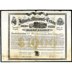 Illinois, Missouri and Texas Railway Co., Specimen Bond.
