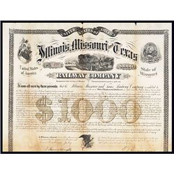 Illinois, Missouri, and Texas Railway Co. Issued Bond.