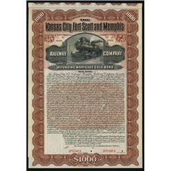 Kansas City, Fort Scott and Memphis Railway Co., Specimen Bond.