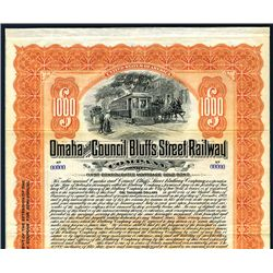 Omaha and Council Bluffs Street Railway Co., Specimen Bond.