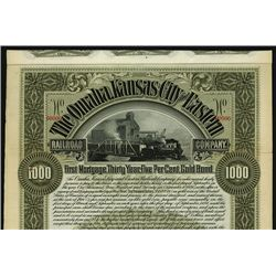 Omaha, Kansas City and Eastern Railroad Co., Specimen Bond.