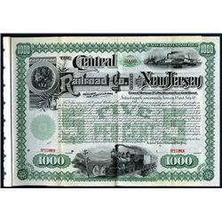Central Railroad Co. of New Jersey, 1887 Specimen Bond.