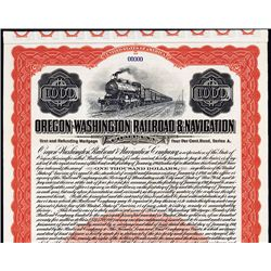 Oregon-Washington Railroad & Navigation Co., Specimen Bond.