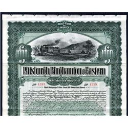 Pittsburgh, Binghamton and Eastern Railroad Co., Issued Bond.
