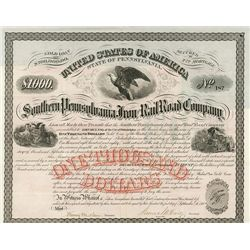 Southern Pennsylvania Iron and Rail Road Co., Issued Bond.