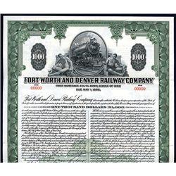Fort Worth and Denver Railway Co., Specimen Bond.