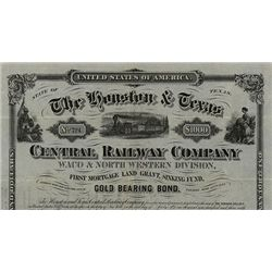 Houston & Texas Central Railway Co. Waco & North Western Division, Issued Bond.