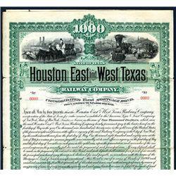 Houston East and West Texas Railway Co., Specimen Bond.