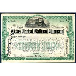 Texas Central Railroad Co., 1893 Issued Stock Certificate.