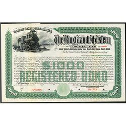 Rio Grande Western Railway Co. Specimen Bond.