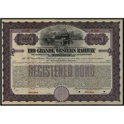 Rio Grande Western Railway Co., Specimen Bond.