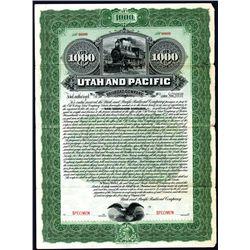Utah and Pacific Railroad Co., Specimen Bond.