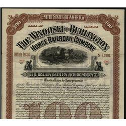 Winooski and Burlington Horse Railroad Co., Specimen Bond.