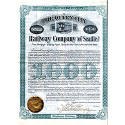 Queen City Railway Co. of Seattle, Issued Bond.