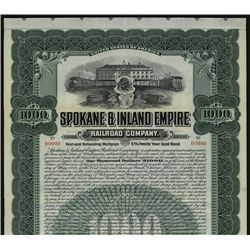 Spokane & Inland Empire Railroad Co., Specimen Bond.