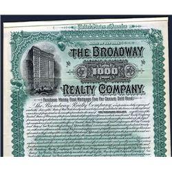 Broadway Realty Co., 1896, $1000 Specimen Bond.