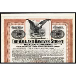 Wall and Hanover Street Realty Co., Specimen Bond.