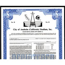 Rams and Angels, Anaheim Stadium, Inc., Sports Specimen Bond.