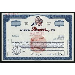 Atlanta Braves, Inc., Specimen Baseball Stock Certificate.
