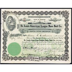 St. Louis American League Base Ball Co. Issued Stock.