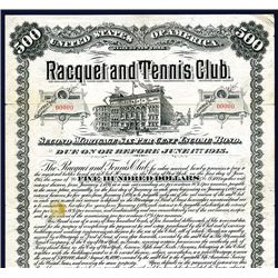 Racquet and Tennis Club 1890 Issued Bond.