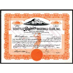 Seattle Rainier Baseball Club, Inc. 1940 Issued Baseball Stock Certificate.