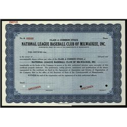 National League Baseball Club of Milwaukee, Inc. ND (ca. 1953) Specimen Stock.