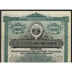 Colorado Land and Improvement Co. Specimen Bond.