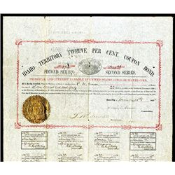 Idaho Territory Twelve Per Cent Coupon Bond, Issued Bond.