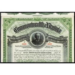 Commonwealth of Virginia, Specimen Bond.