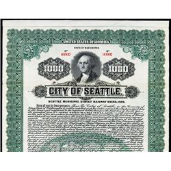 City of Seattle Specimen Bond.