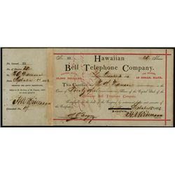 Hawaiian Bell Telephone Co., Issued Stock.