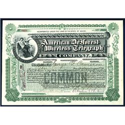 American DeForest Wireless Telegraph Co. Issued Stock.