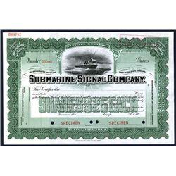 Submarine Signal Co., Specimen Stock.