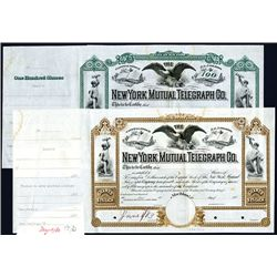 New York Mutual Telegraph Co. 1880's Unique Approval Proof Pair.