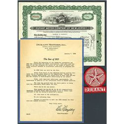 Durant Motor Co. of New Jersey Issued Stock.