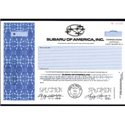 Subaru of America, Inc., Specimen Stock.