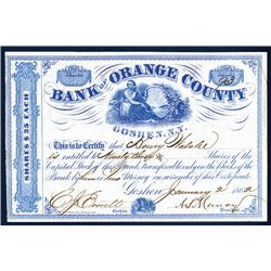 Bank of Orange County Issued Stock.