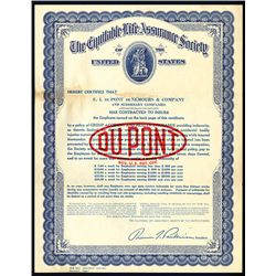 Dupont Health Insurance Policy by Equitable Life Assurance Society, Issued Certificate.