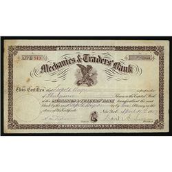 Mechanics & Traders Bank Issued Stock.