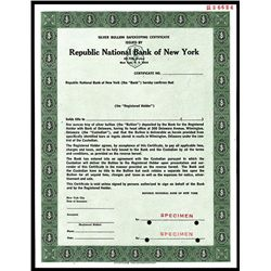 Republic National Bank of New York, Silver Bullion Safekeeping Certificate.