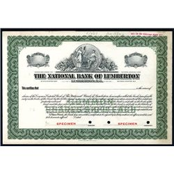 National Bank of Lumberton, Specimen Stock.
